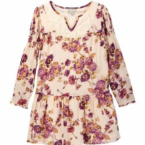 Lucky Brand Dress Floral Lace Biscotti Peasant 6X